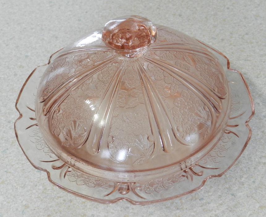 orig old depression glass pink cherry blossom butter dish. Black Bedroom Furniture Sets. Home Design Ideas