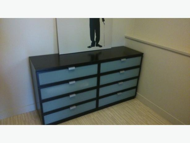HOPEN 8 drawer dresser  black brown  frosted glass 63 W  19 D  33 H  Very  good condition  Can assist with delivery  if needed. IKEA dresser Esquimalt   View Royal  Victoria