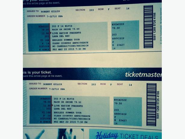 Tickets- Lana del Rey Saanich, Victoria
