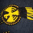 4U2C ABORIGINAL BEADED BLACK AND YELLOW WITH EAGLE NECKLACE