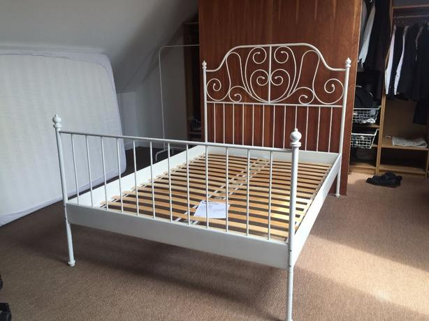 Really pretty white metal bed frame from ikea in great shape