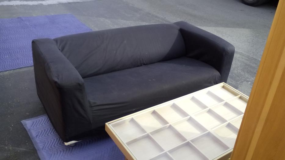 ikea sofa with black removable velcro cover