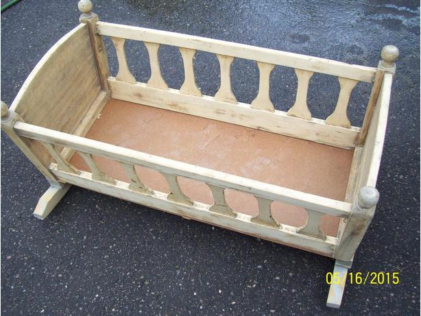 Antique baby cradle already stripped