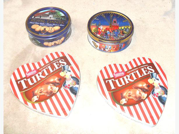 4 Empty Like-New Tins for Sweets, with Covers
