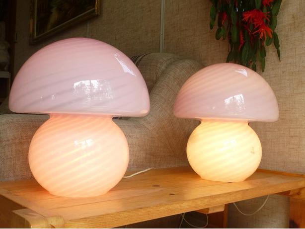 Pair of  Murano Mushroom lamps