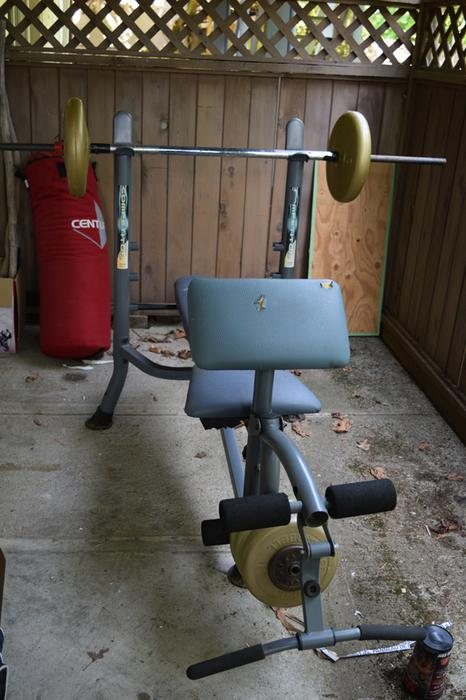 Universal Weight Bench With Dumbells And Weights West Shore Langford Colwood Metchosin