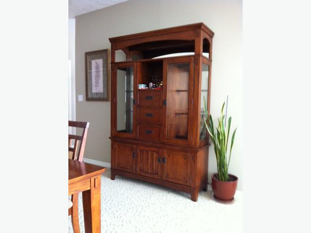 oak dining table 6 chairs and china cabinet west shore