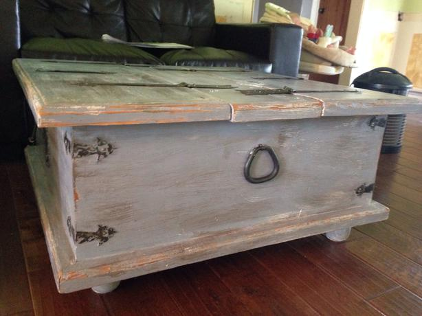 Distressed Solid Wood Coffee Table Cowichan Bay Cowichan