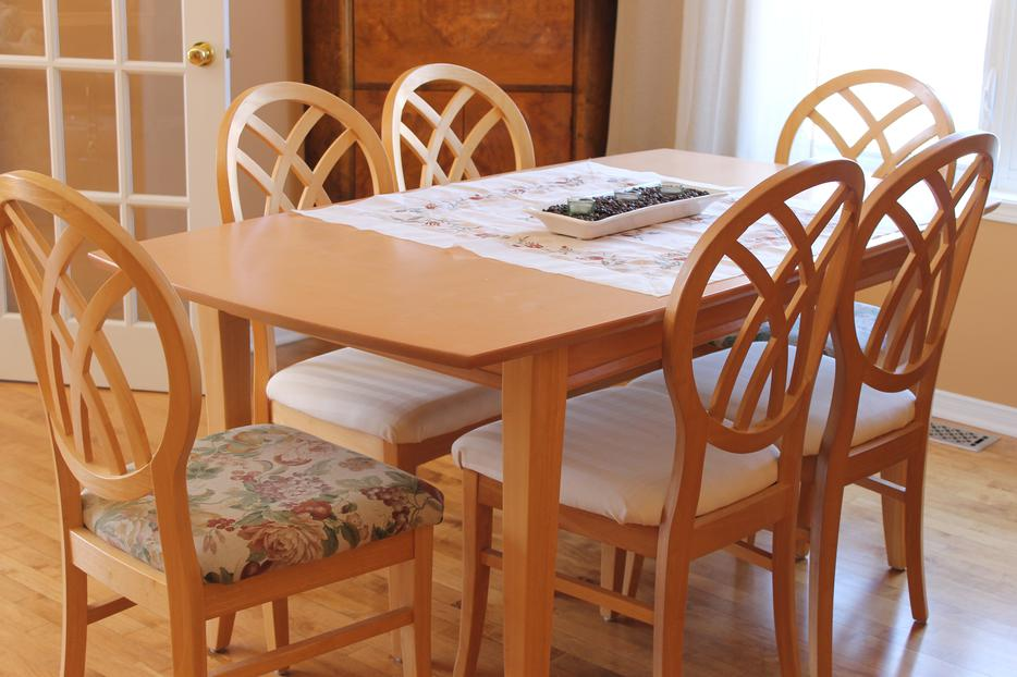 Wood Dining Table With 6 Chairs Matching Wood Buffet