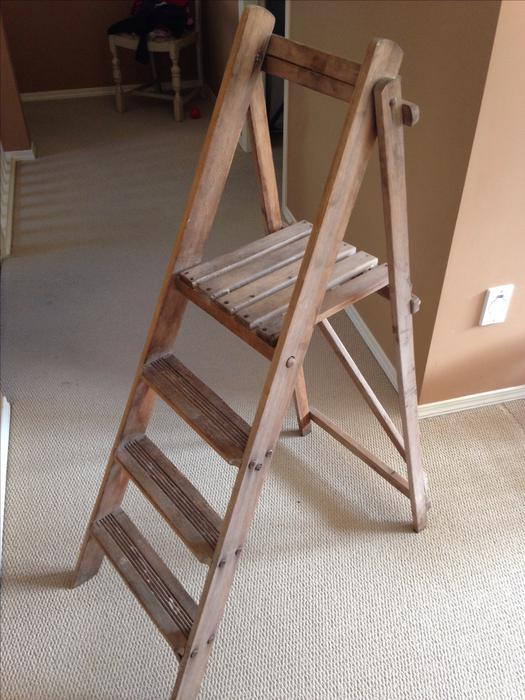 Beautiful Old Wooden Ladder With Shelf West Shore