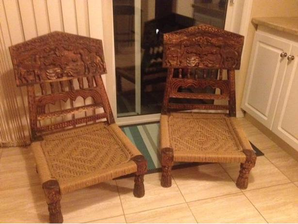 Antique Indian Pida Chairs