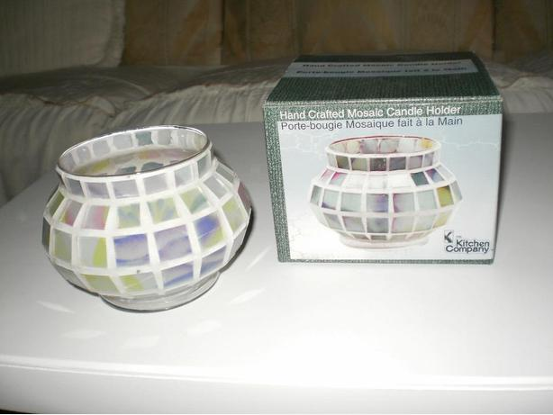 NEW, HAND CRAFTED SIMPLE BEAUTY MOSAIC DECORATIVE CANDLE HOLDER