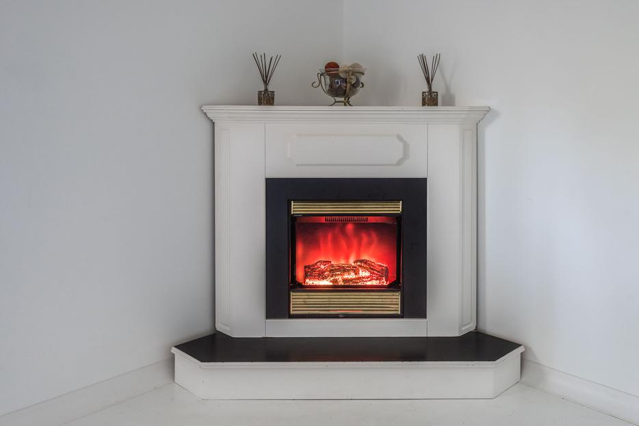 Corner Electric Fireplace Mantle White Colour North