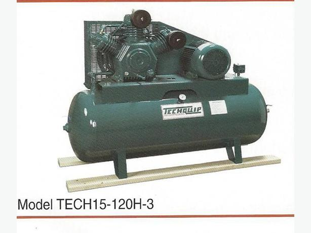 New 15 hp. TECHQUIP Air Compressor 208/230/460 or 575 volt/3phase motor
