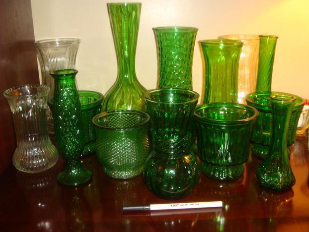 17 Vintage Green Amp Clear Glass Vases West Regina Regina