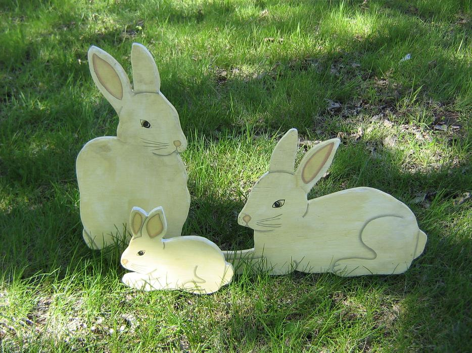 Three hand made wooden lawn garden ornaments st vital winnipeg - Wooden garden ornaments ...