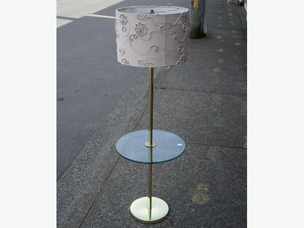 Retro Floor Lamp With Round Glass End Table Chemainus