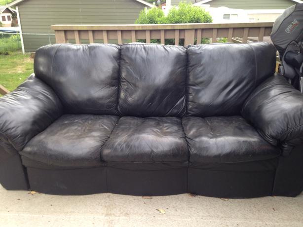 FREE: used black leather couch
