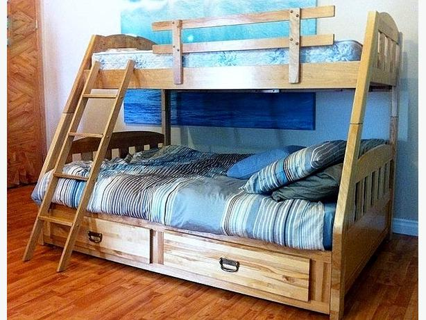 Solid birchwood bunk bed single over double north east for Good quality single beds