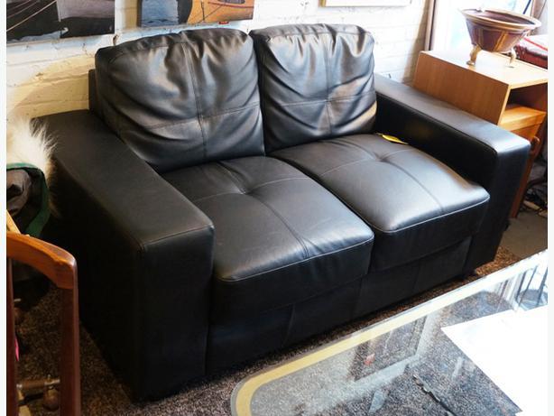 Black Leather Low Profile Loveseat I 52018 Victoria City