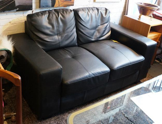 Black Leather Low Profile Loveseat I 52018 Victoria City