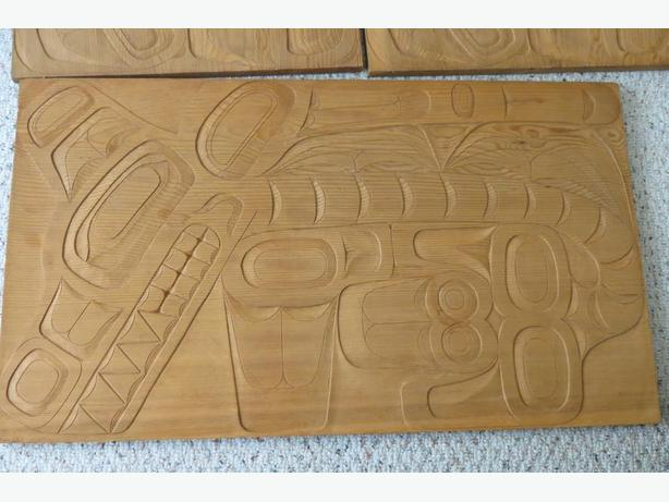 -  Haida carved Cedar Panels for Blanket Box by master carver