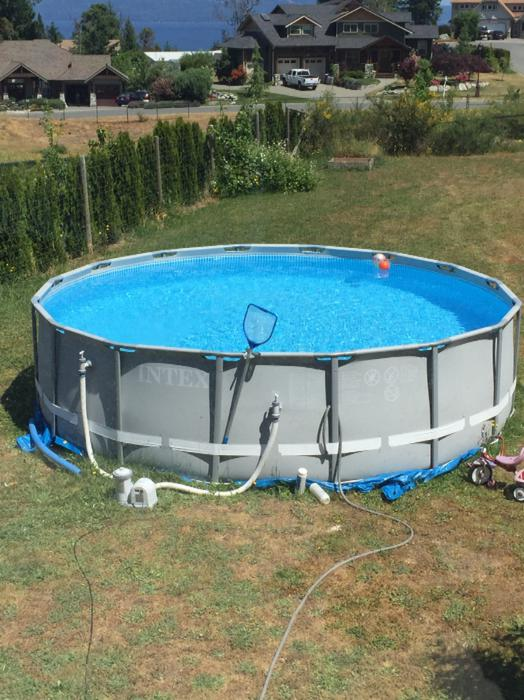 Intex 16 39 round 48 deep above ground pool malahat for Deep above ground pools