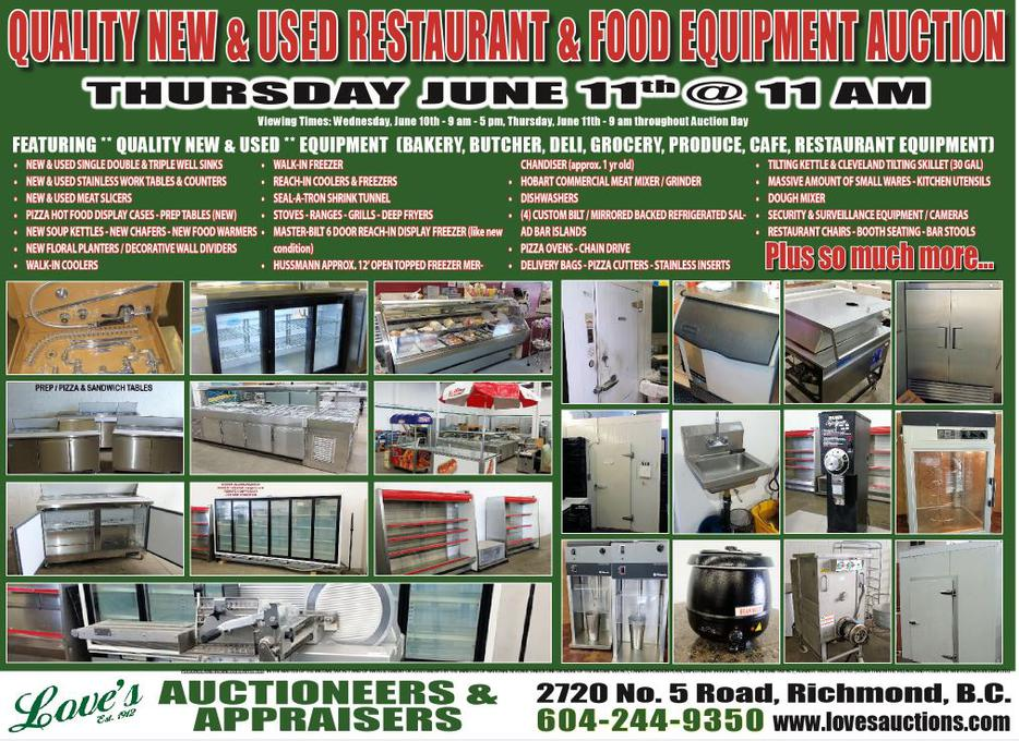 Public Auction Quality New Amp Used Food Restaurant