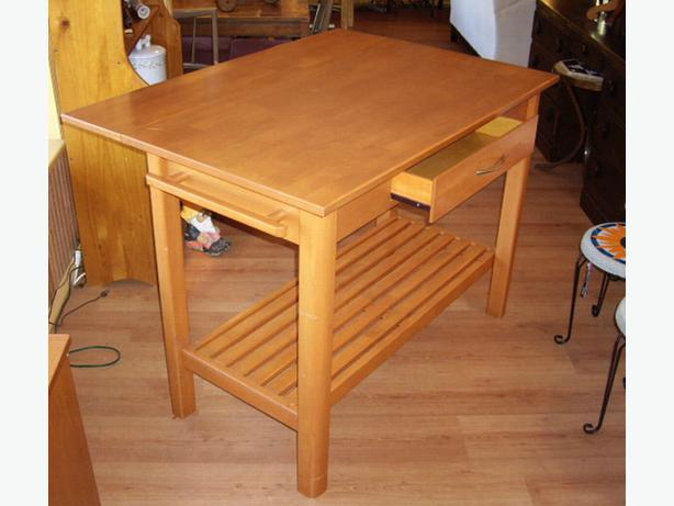 Counter Height Kitchen Island Butcher Block Dropleaf Table with Drawer ...