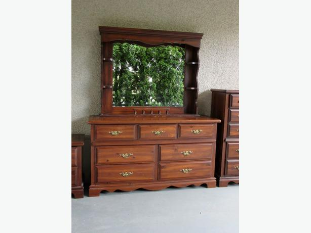 Solid Wood Pine Long Dresser with Shelves and Mirror ...