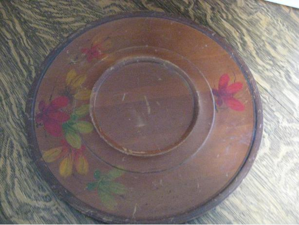 Old wood tray with painted design