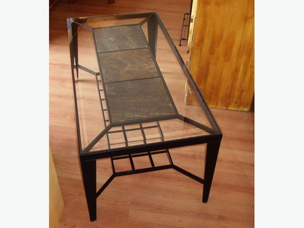 Beveled Glass Over Slate Tile Coffee Table With Black Metal Frame
