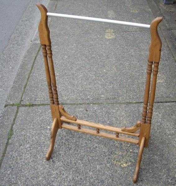 Oak Wood Quilt Rack Or Free Standing Towel Rack Outside