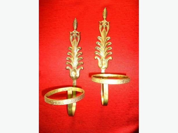 Vintage Brass Wall Mounted Candle or Flower Pot Holders (Pair)