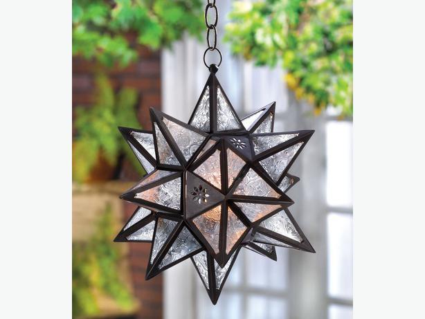 Large clear glass star hanging candleholder lantern lot