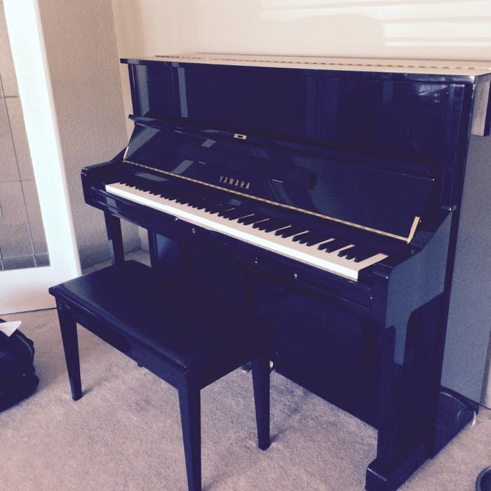 Price reduced yamaha upright baby grand piano oak bay for Yamaha m500s piano price