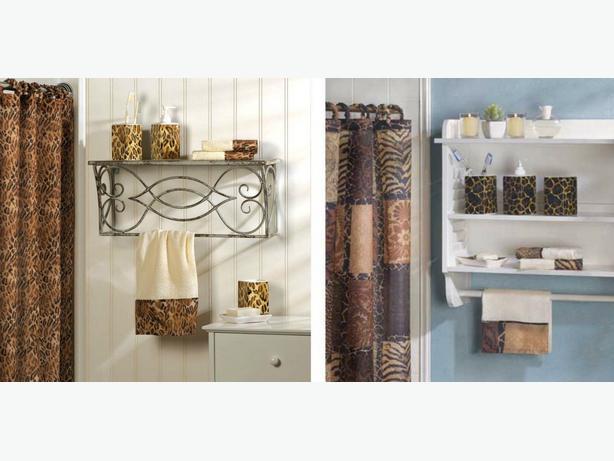 Animal print bathroom ensemble accessories shower curtain for Bathroom accessories ads