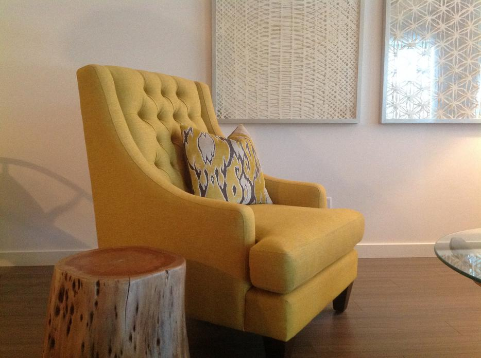 Modern Urban Barn New Chester Chair Tufted Yellow Quality Canadian Made West Shore Langford