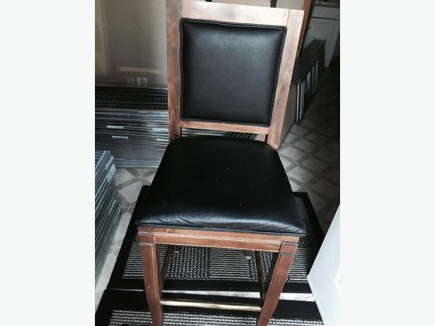 4 Wood And Leather Bar Stools Central Saanich Victoria