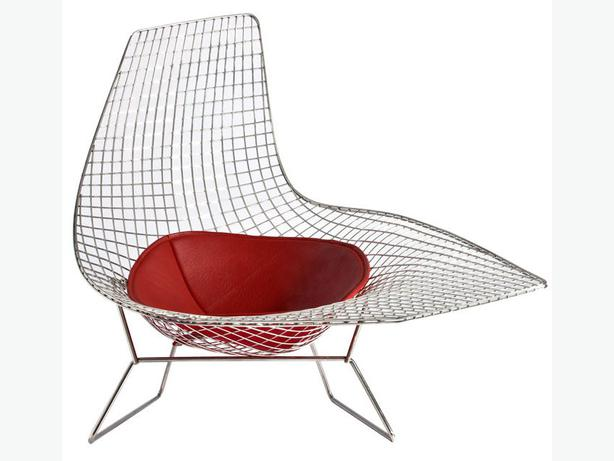 Rare bertoia style asymmetric chaise with seat pad for Bertoia asymmetric chaise