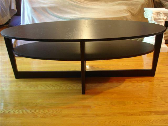Sold Ikea Vejmon Oval Black Coffee Table 55 Quot X 26 Quot X 18 5