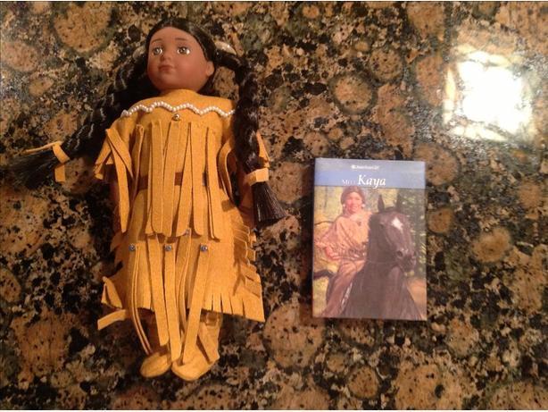 American girl Kaya mini doll with hardback book