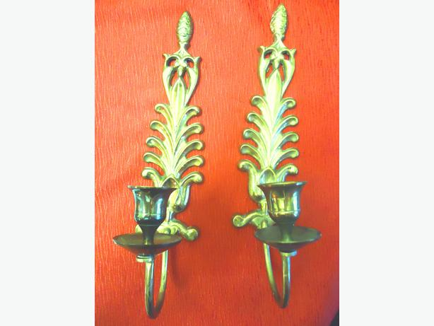 Vintage Brass Wall Mounted Candle Holders (Pair)