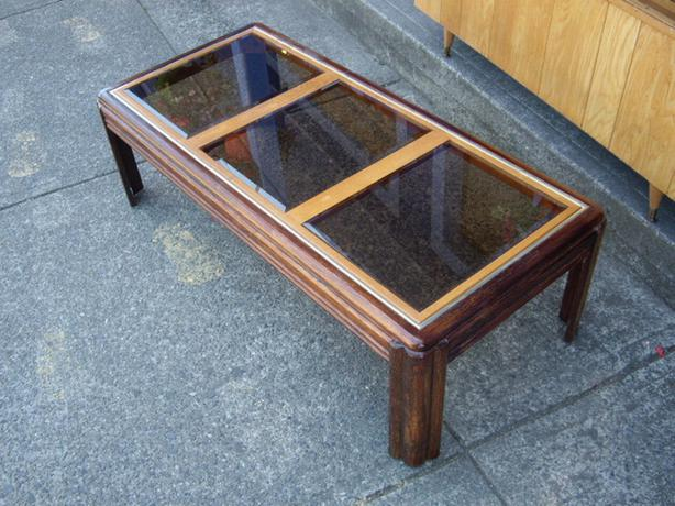 Retro 2 toned wood coffee table with beveled glass top for Coffee table 40 x 24