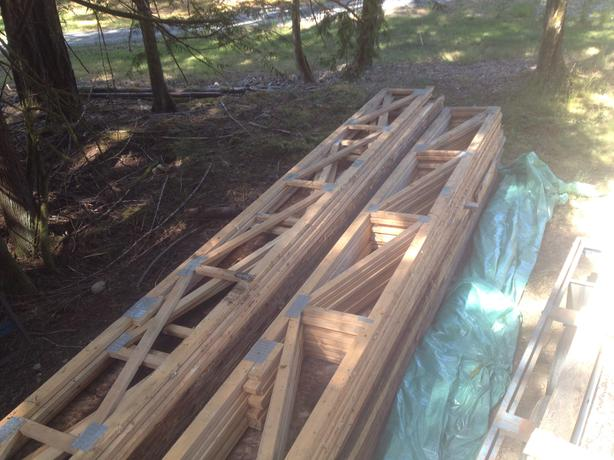 Flat Roof And Floor Trusses 24 Foot Long Outside Victoria