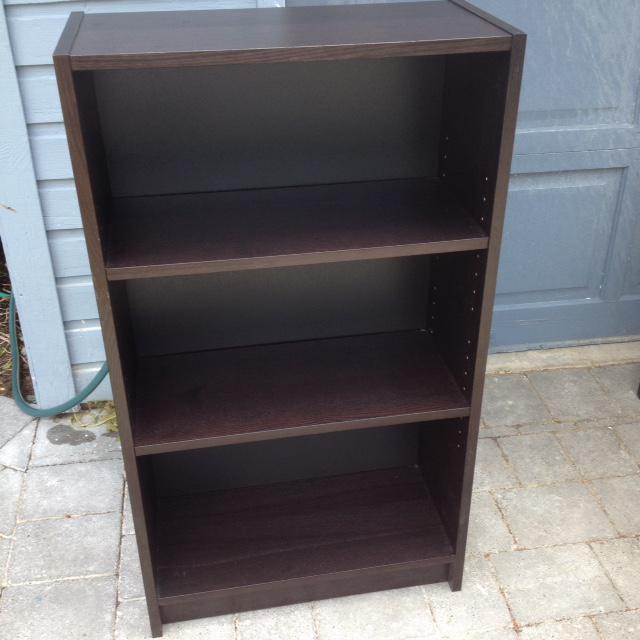 ikea 3 shelf wooden bookcase black brown colour saanich