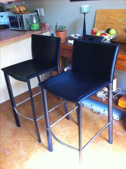 Two leather bar stools black Victoria City Victoria  : 47325025934 from www.usedvictoria.com size 523 x 700 jpeg 50kB