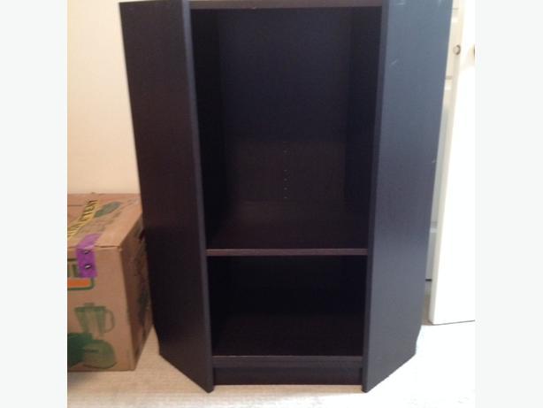 ikea 3 shelf wooden corner cabinet bookcase black brown