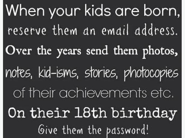 When your children are born, reserve them an email address here.