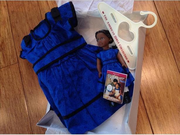 "American Girl Addy's Dress &  6.5 "" Beforever Mini Doll &book"